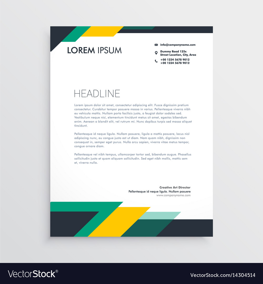 modern letterhead design template with geometric vector image