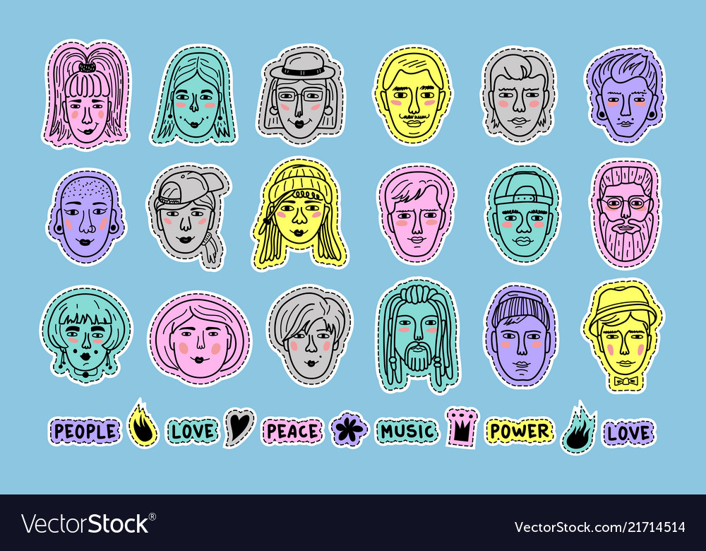People avatars doodle patches set of colorful