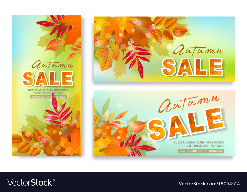 Set with seasonal discounts autumn leaves sale
