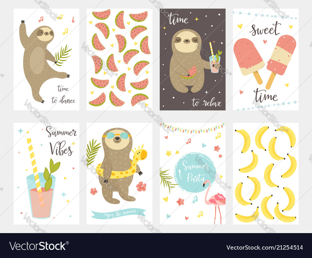 Sloth collection set of summer cards