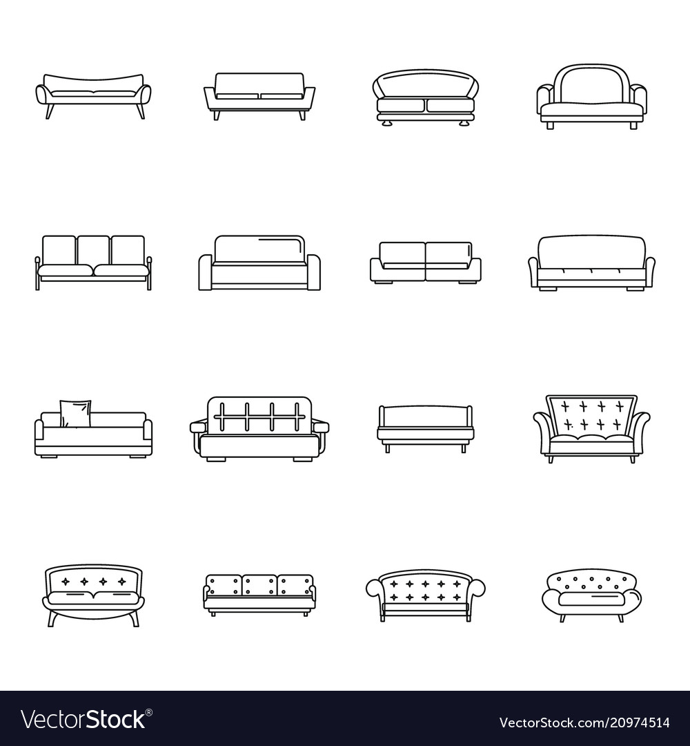 Sofa chair room couch icons set outline style