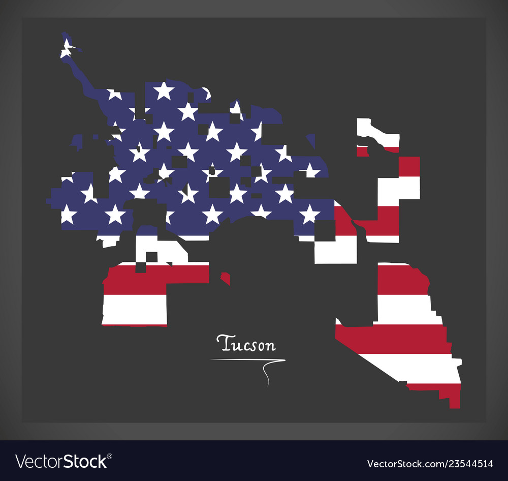 Tucson arizona map with american national flag