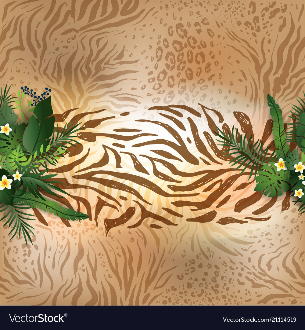 Animal skin and leaves