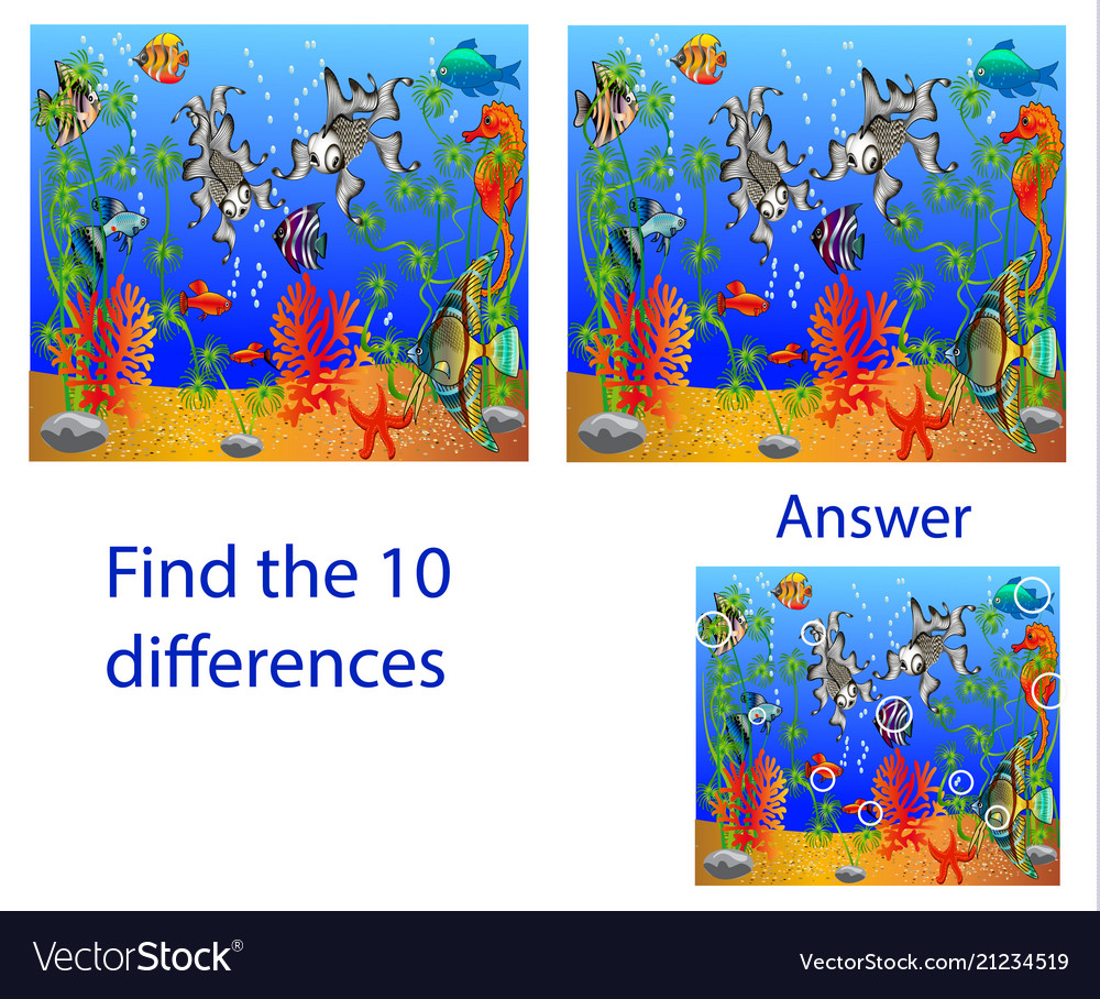 Childrens visual puzzle find ten differences