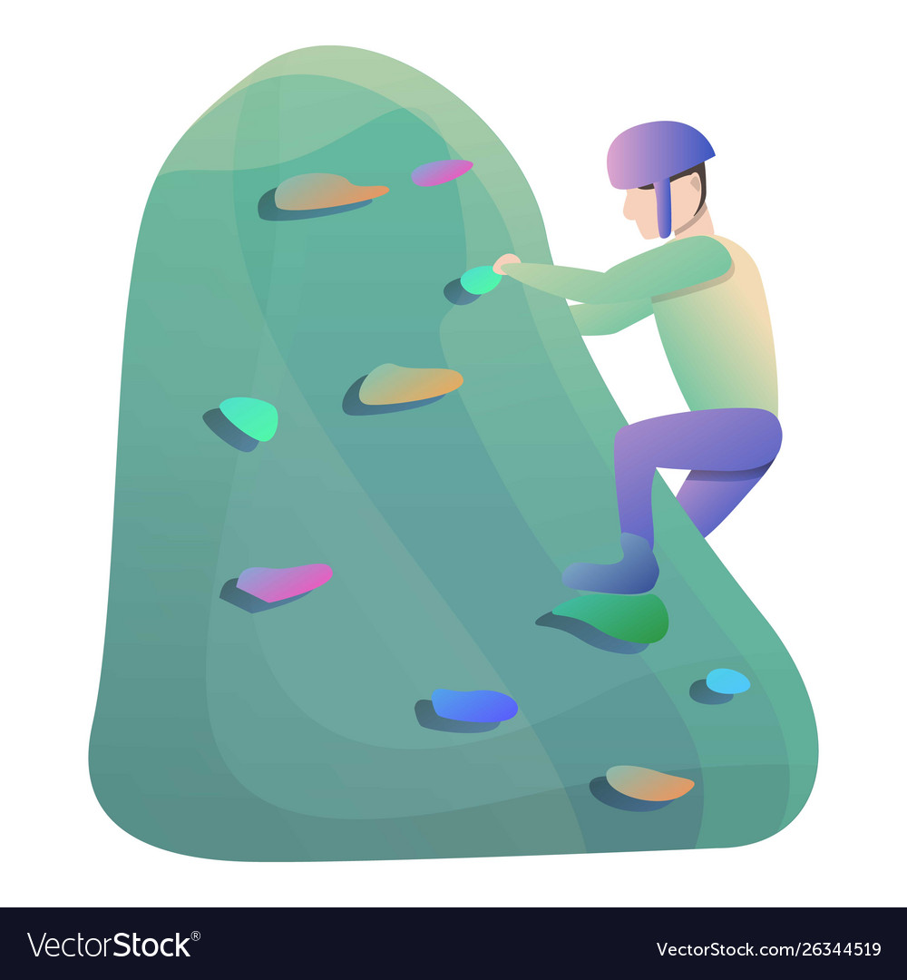 Climber helmet wall climbing icon cartoon style