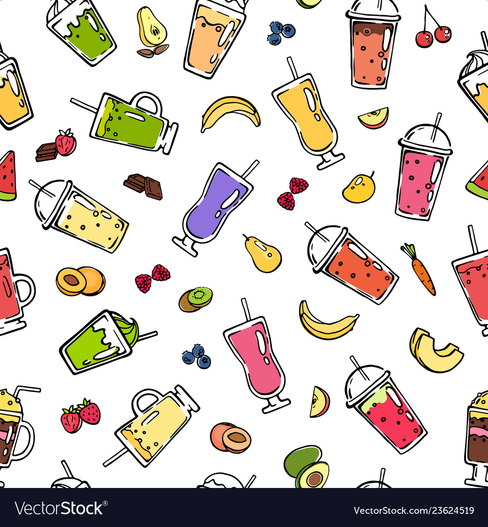 Doodle smoothie pattern or background