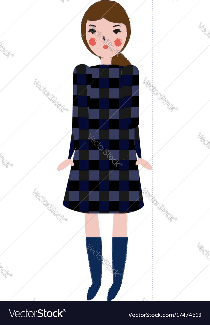 Fashionable female in plaid dress girl in trendy vector image