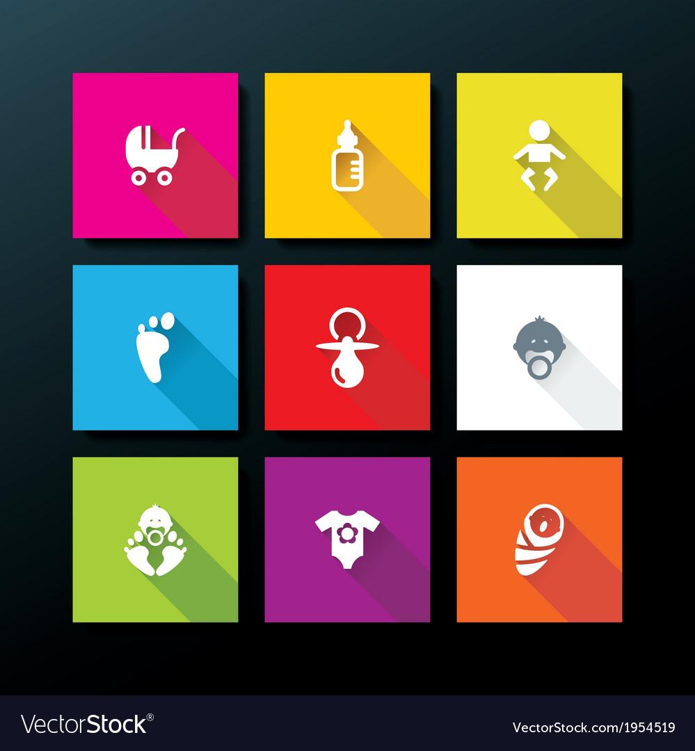 Flat baby icon set