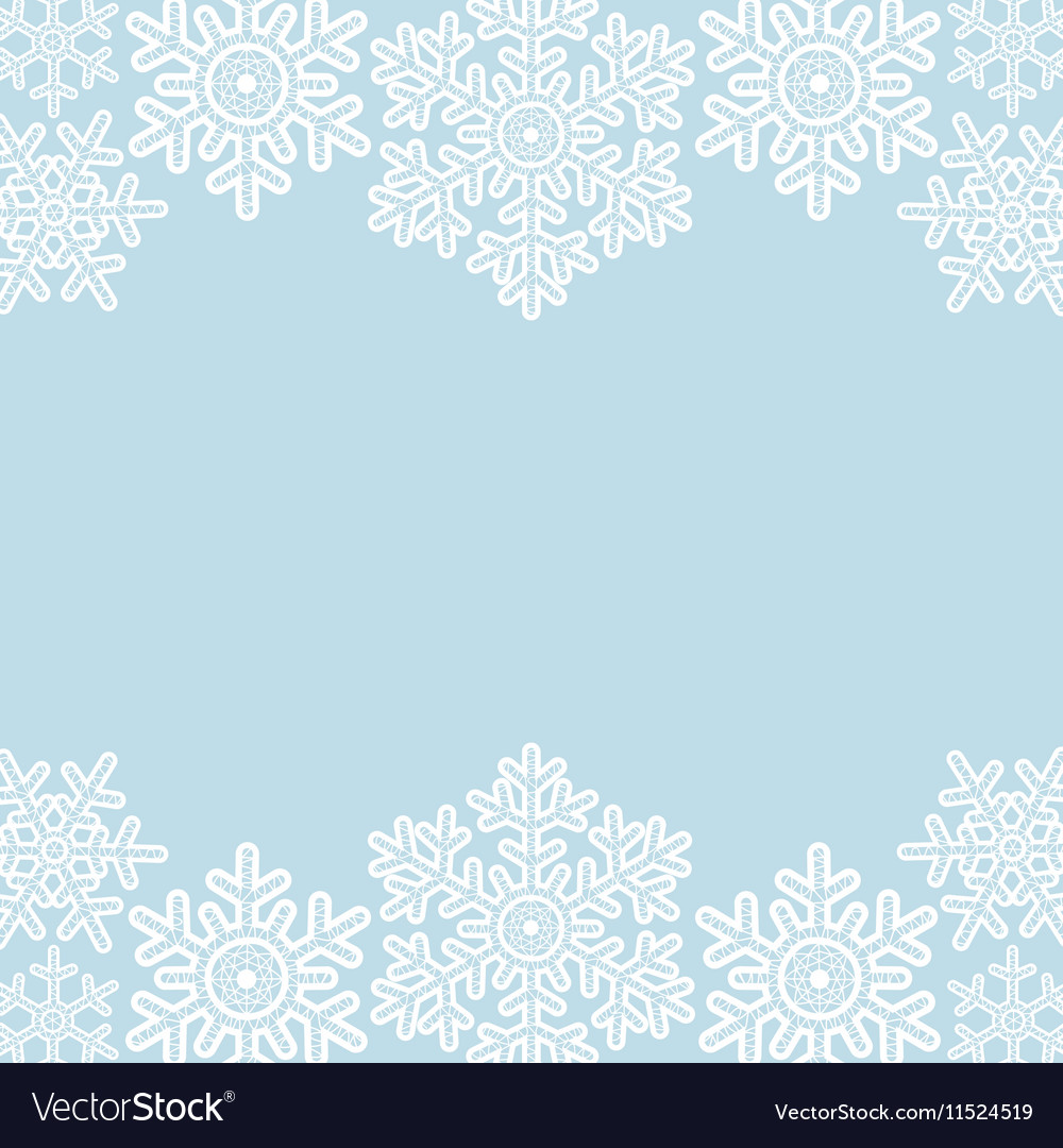 Lace snowflakes borders on blue vector image