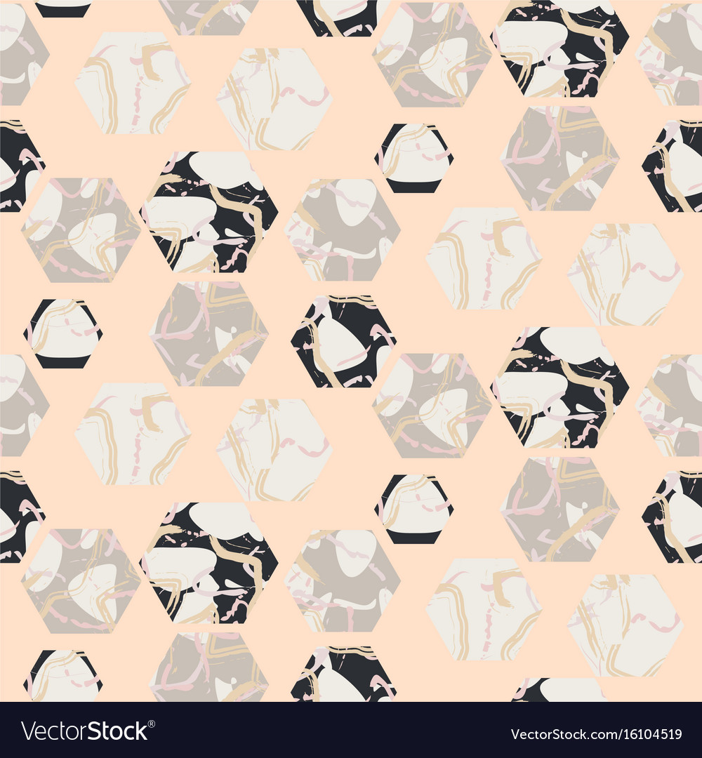 Marble stone hexagons seamless pale pink vector image