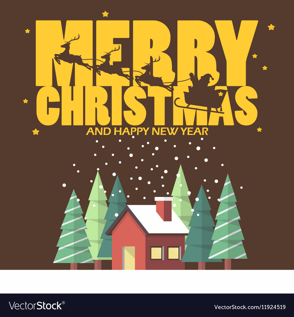 Merry christmas and Happy new year with winter vector image