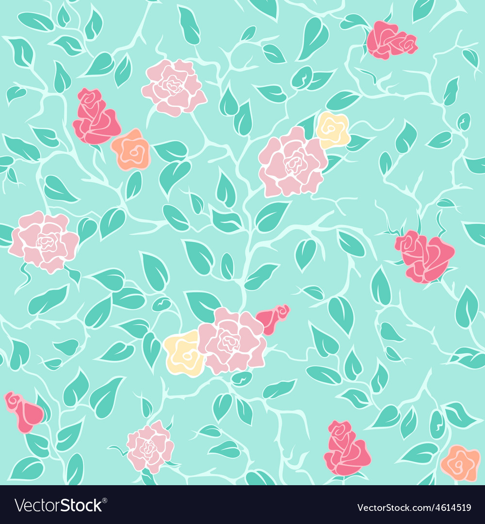 Mint seamless pattern with pink roses and