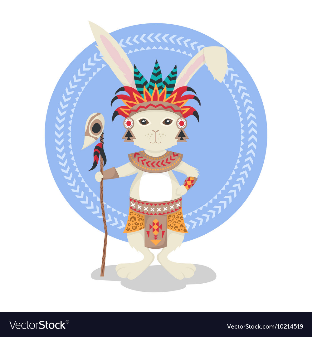 Rabbit or bunny shaman Feathers ceremonial clothes