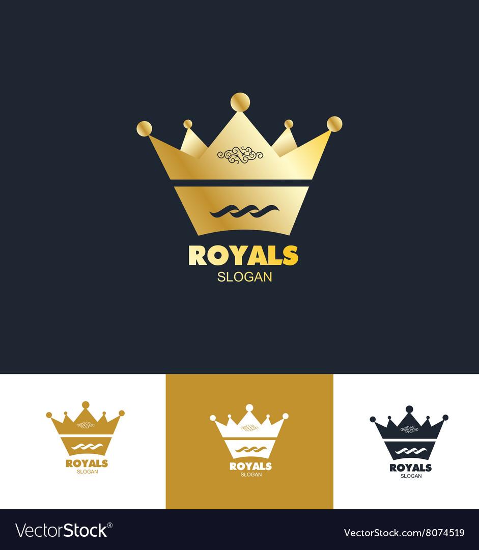 Royal king crown logo icon set