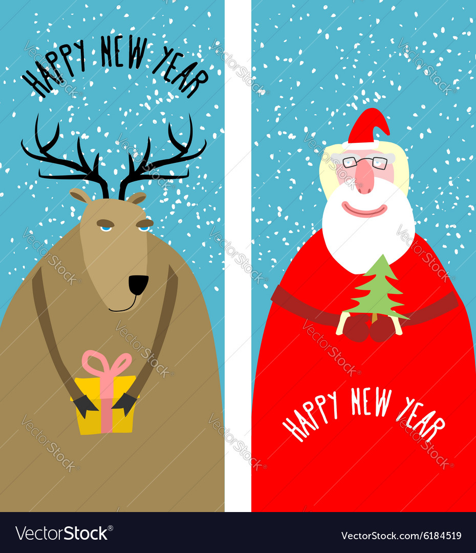 Set greeting Christmas cards Santa Claus with