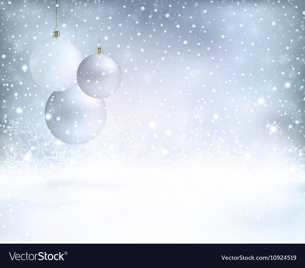 Silver Blue Christmas Background With Vector Image