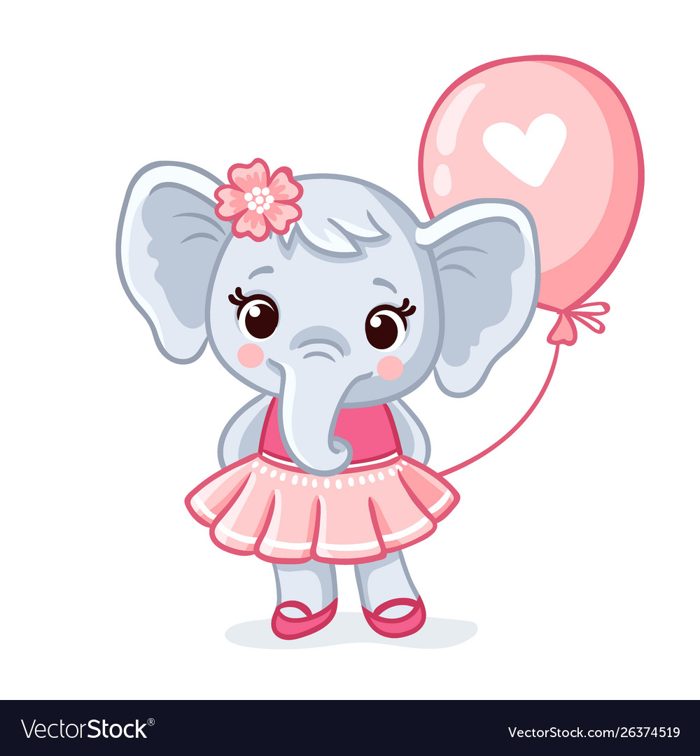Small elephant stands in a beautiful pink dress on