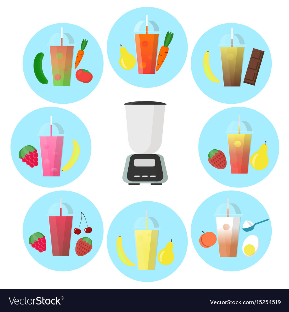 Smoothie to go with different fruits and shaker