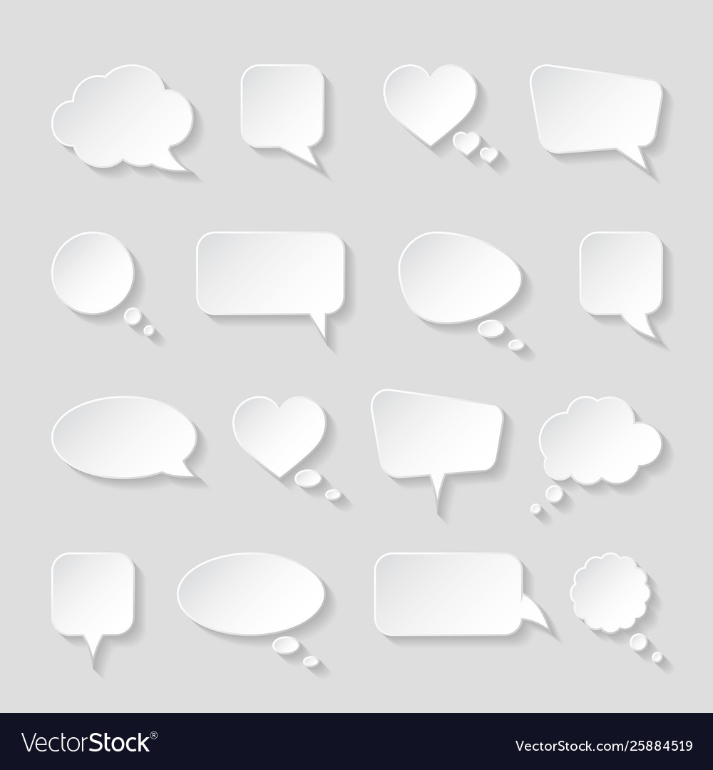 White paper speech bubbles on gray background