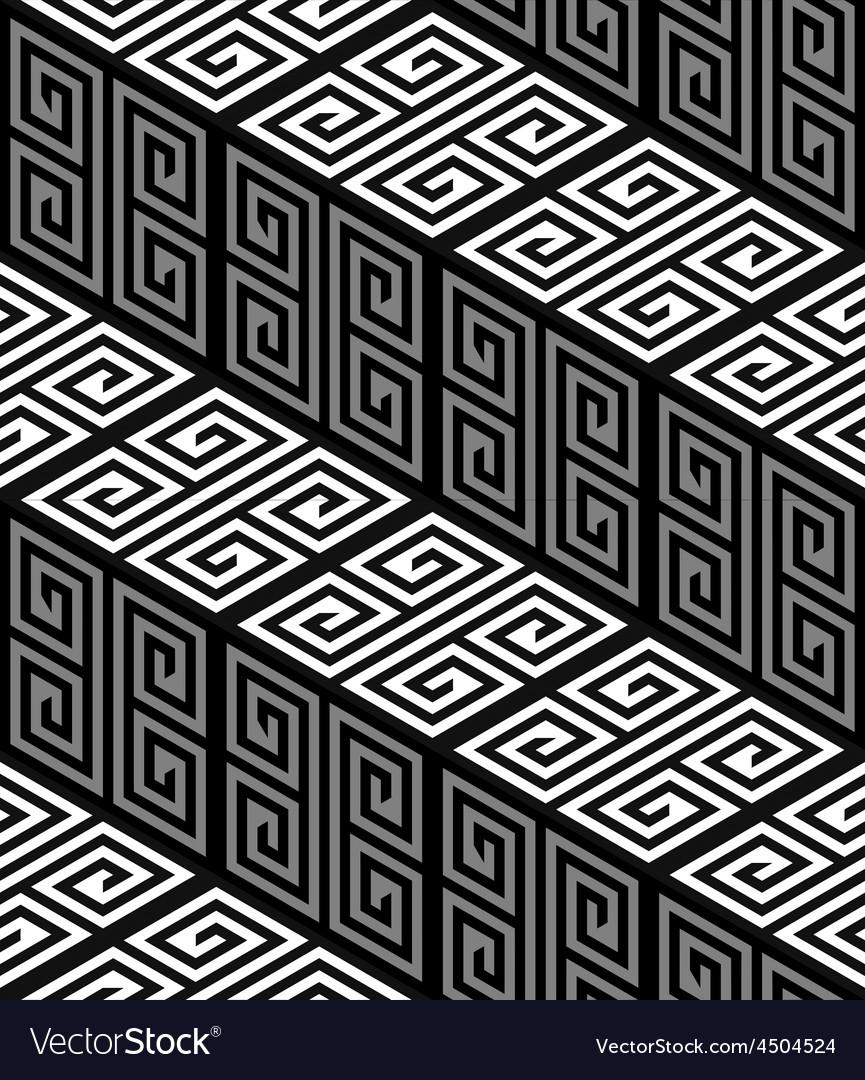 3D Zig Zag Stairs Op Art Seamless Pattern vector image