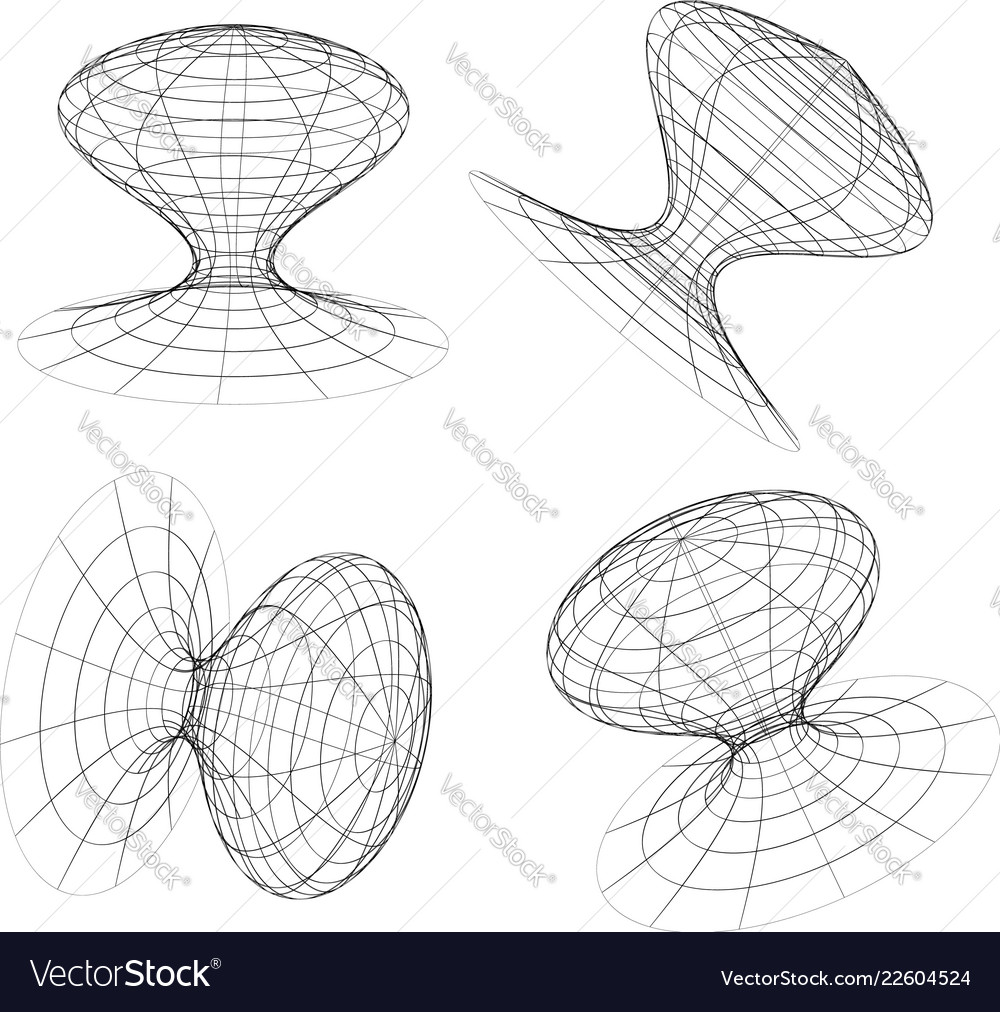 Abstract 3d Wireframe Objects 3d Spatial Shapes
