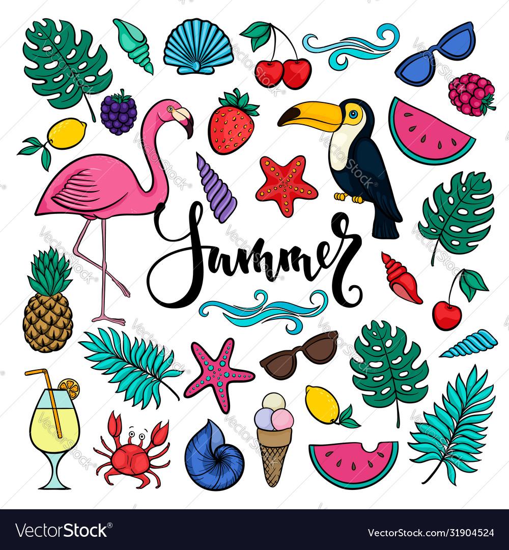 Big set hand drawn cute cartoon summer symbols