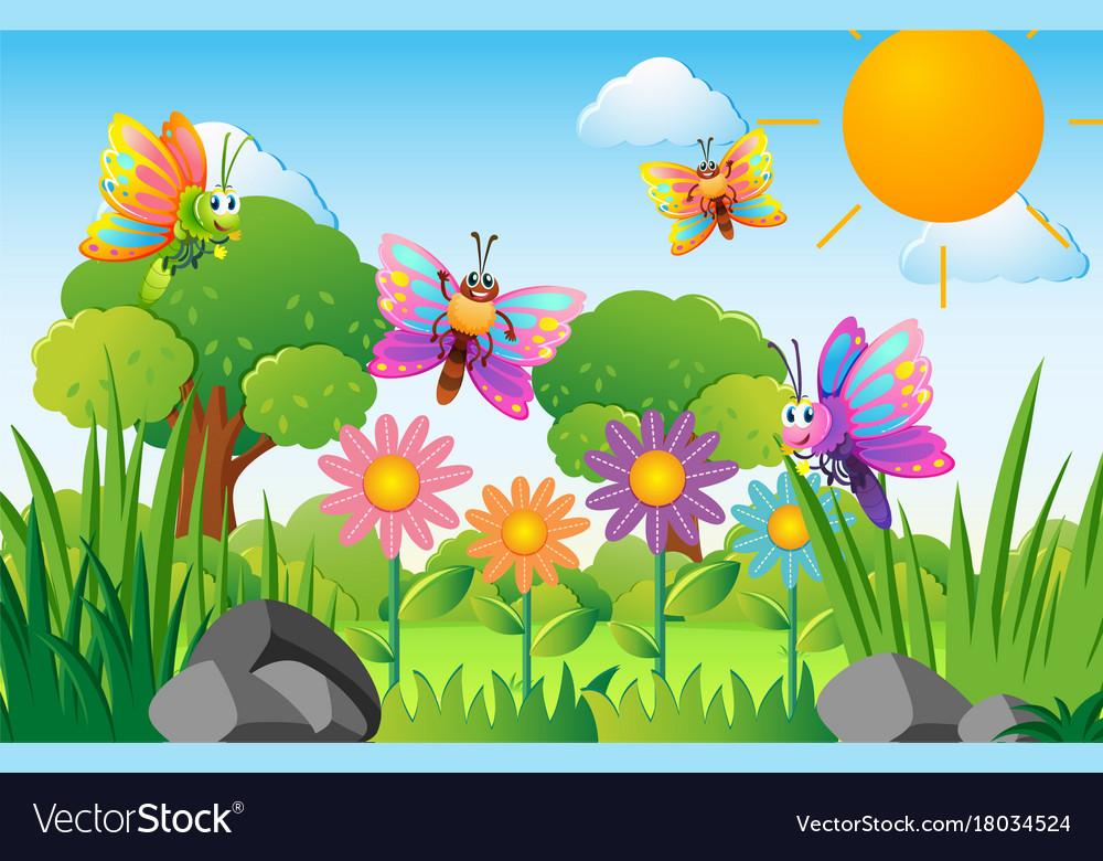 Butterflies flying in flower garden Royalty Free Vector (1000 x 780 Pixel)