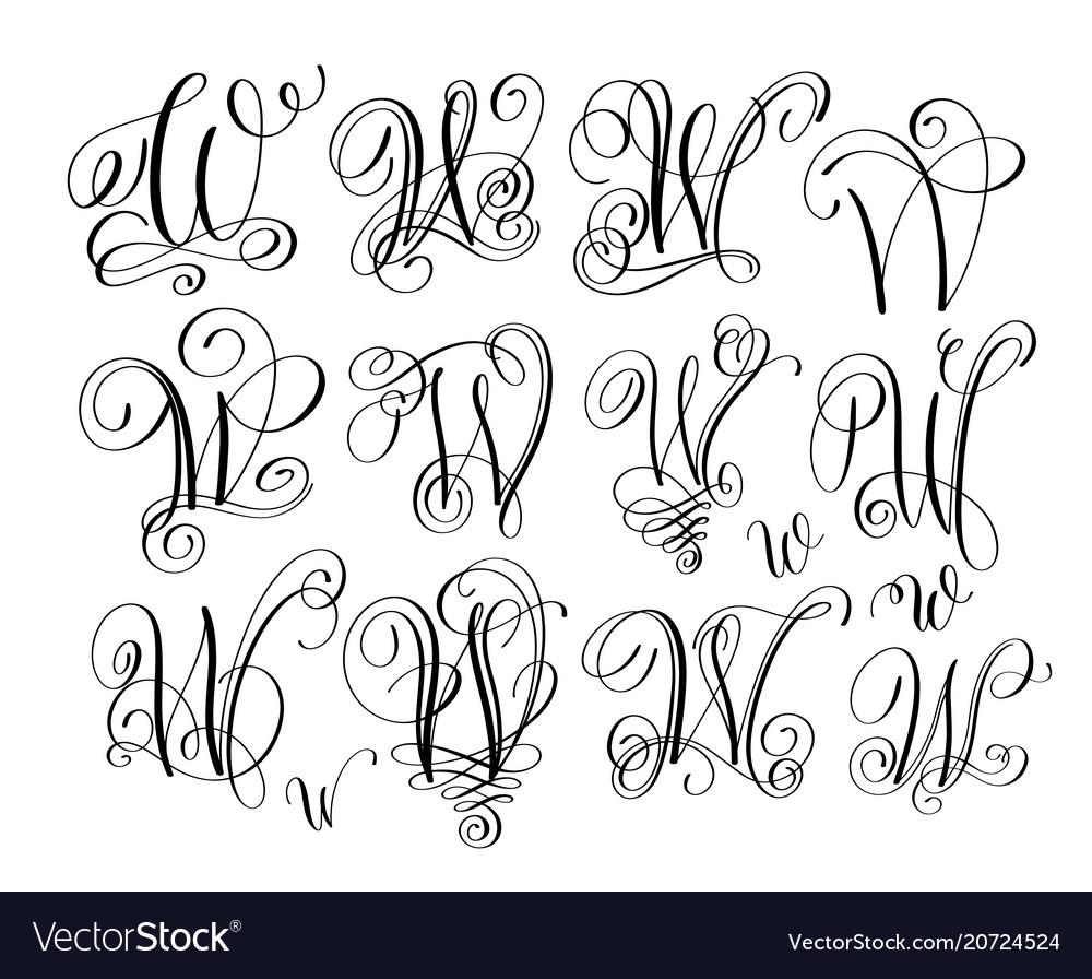 Calligraphy lettering script font w set hand