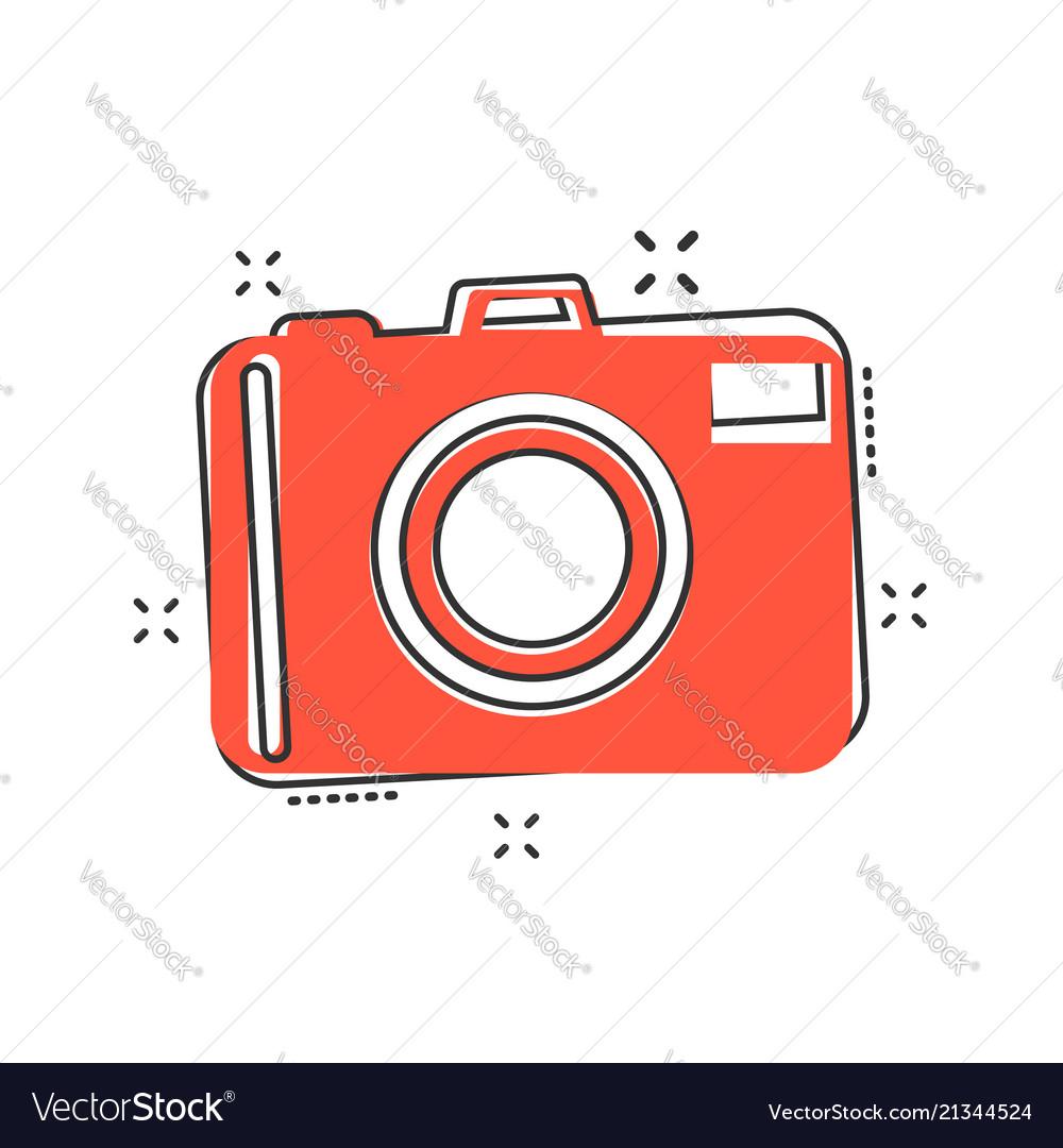 Cartoon photo camera icon in comic style