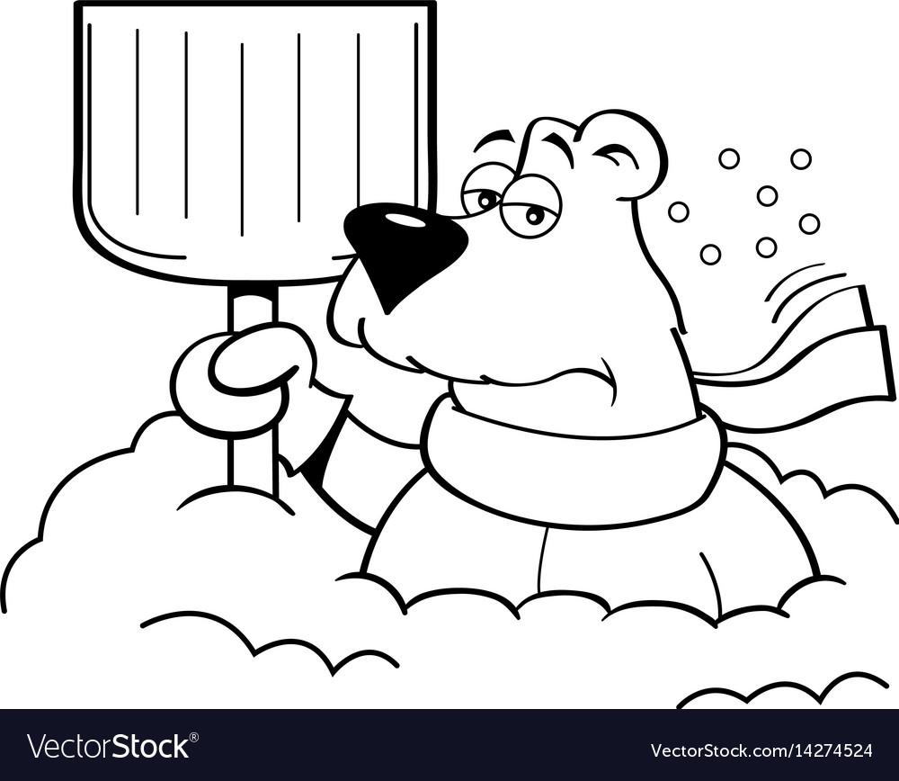 cartoon polar bear holding a snow shovel vector image