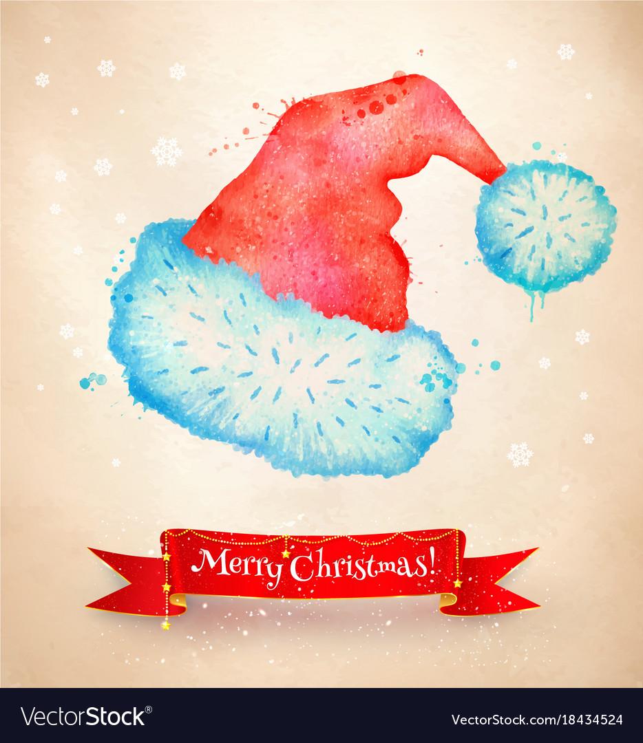 3b1e8970566e1 Christmas vintage postcard with santa hat Vector Image