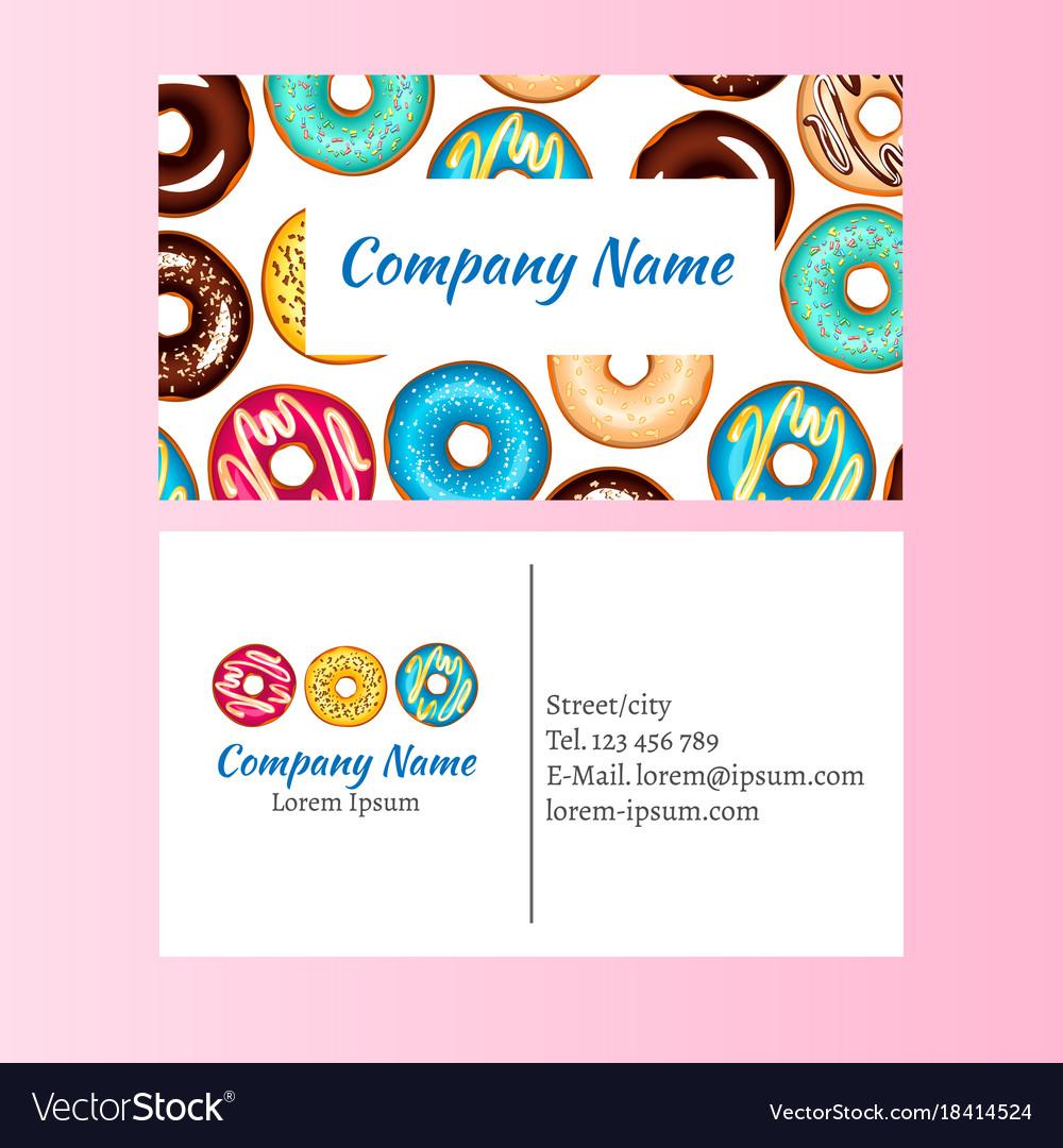 Colored donut glaze business card