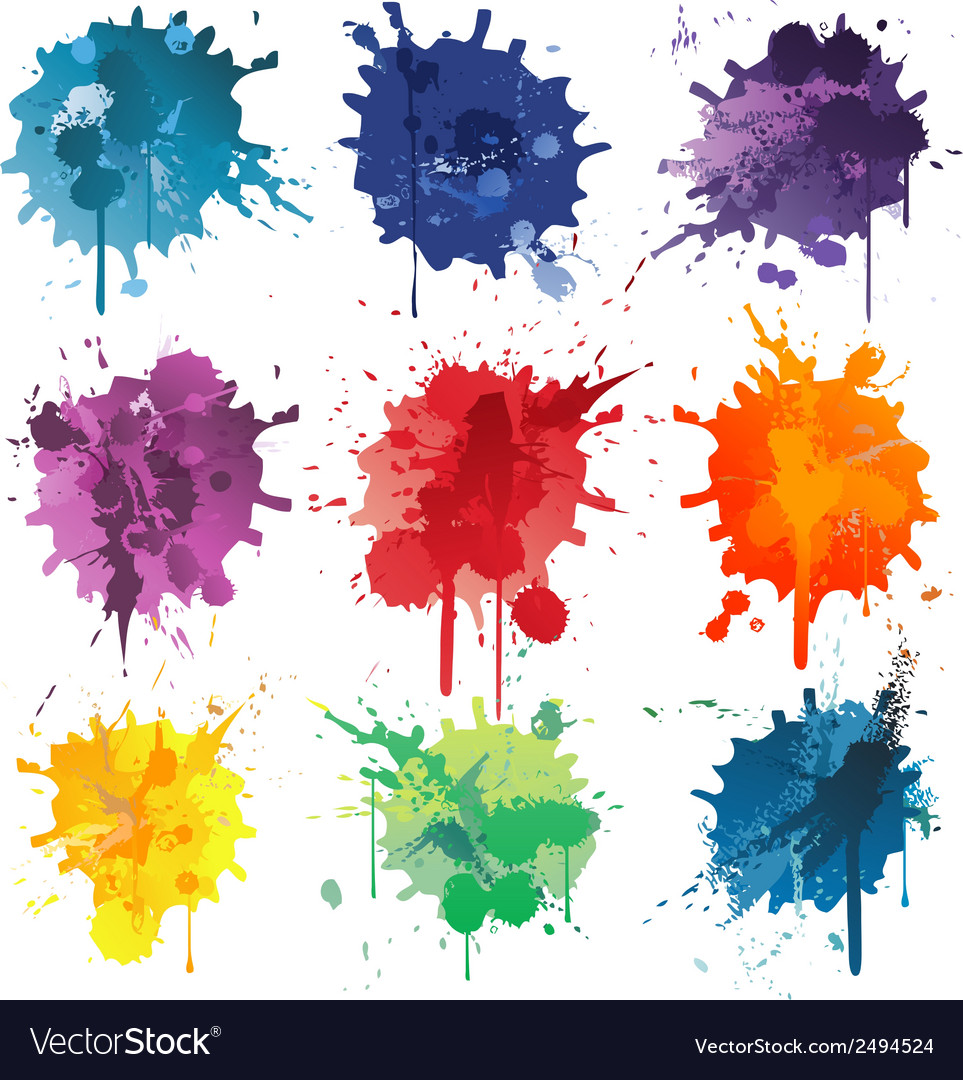 Colorful Abstract ink paint splats