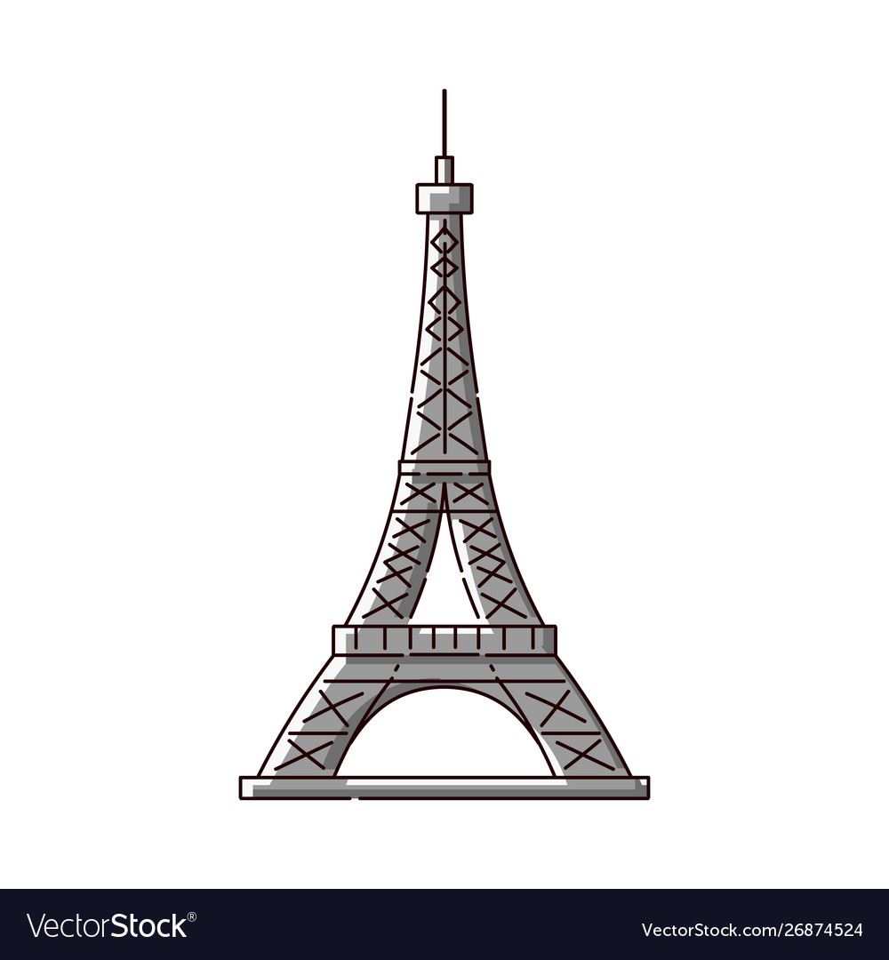 Eiffel tower flat icon - famous paris france