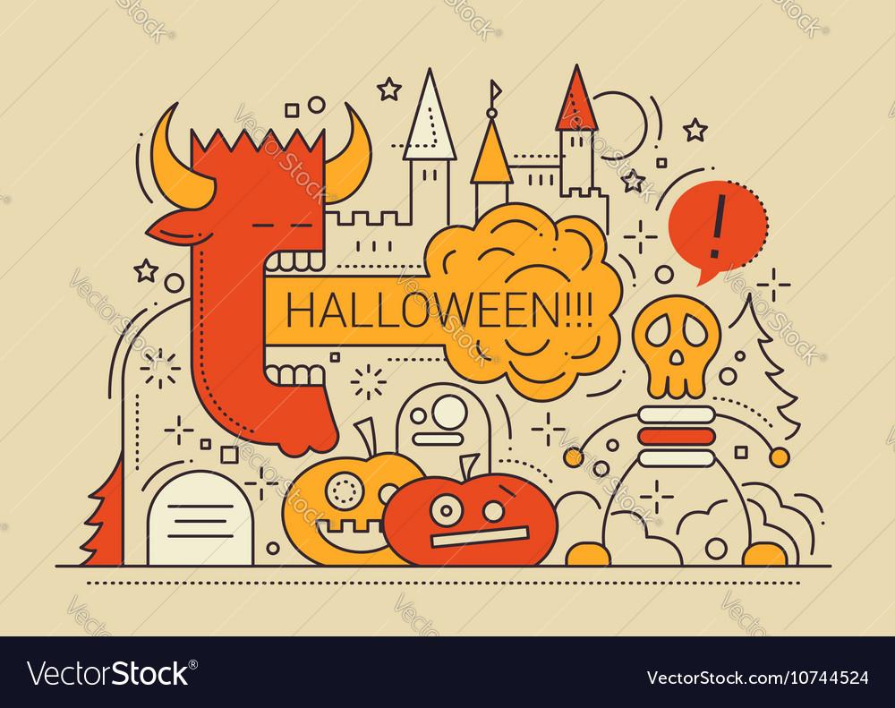 Halloween - line flat design card