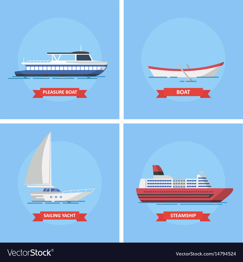 Icons marine ships and boats in a flat style