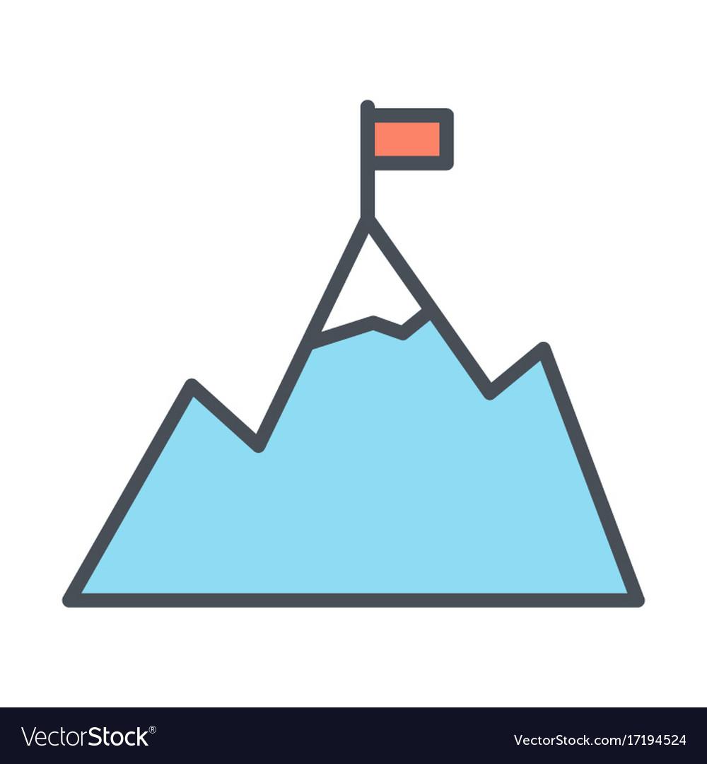 Mountains with flag on peak line icon