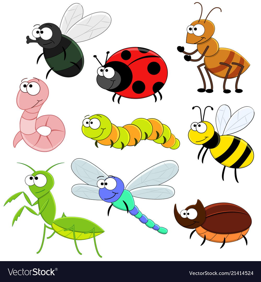 Printset of cartoon funny insects