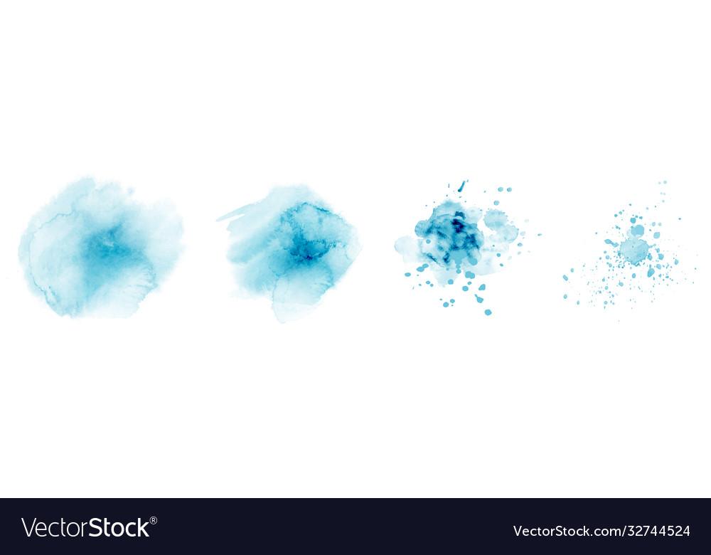 Set hand-painted splash blue color watercolor