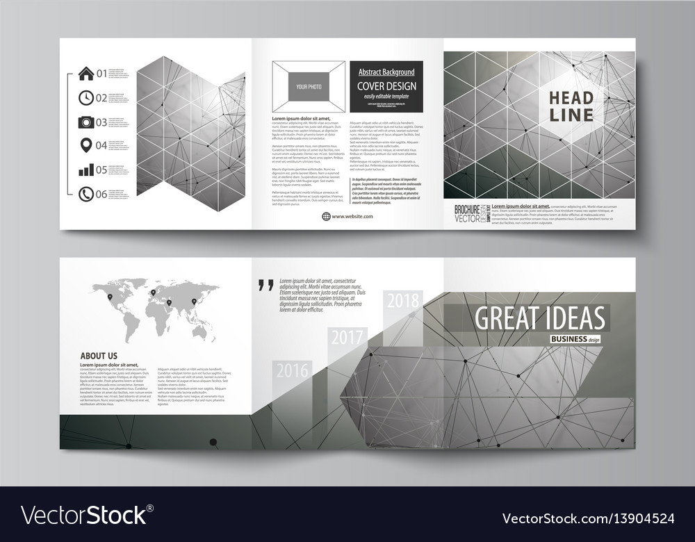 Set of business templates for tri fold square