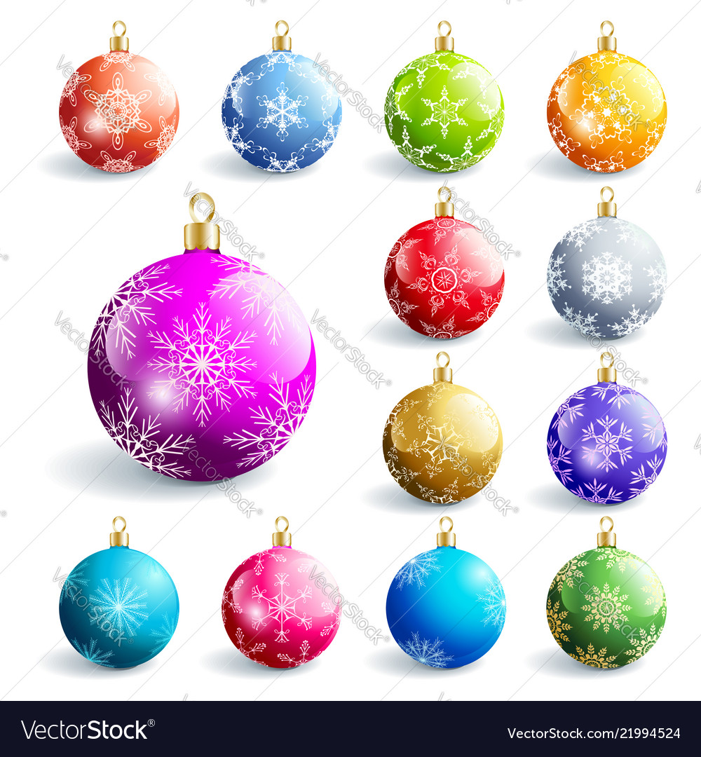 Set of colorful glowing christmas ball