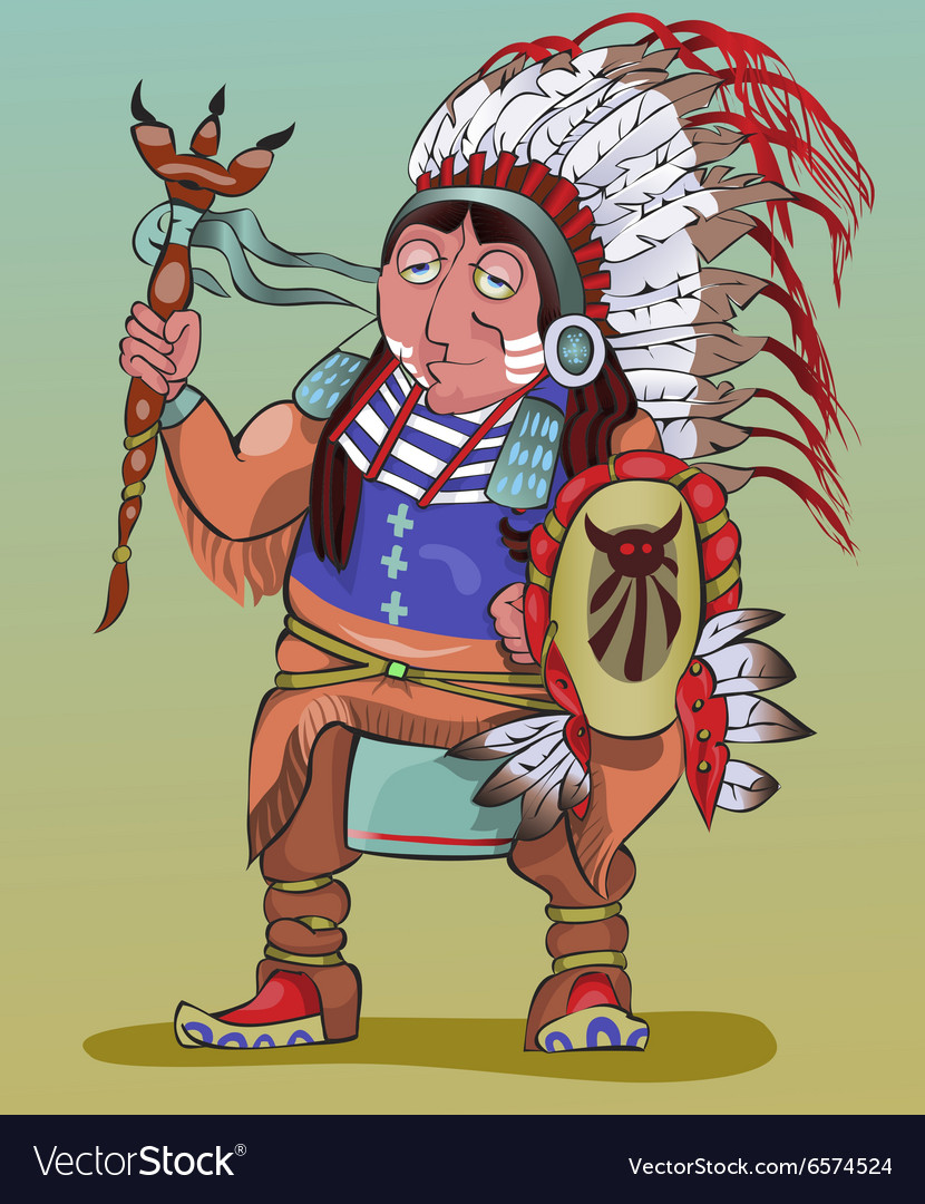 The American Indian in beautiful national clothes