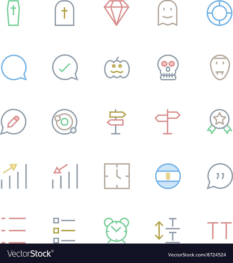 User Interface Colored Line Icons 47