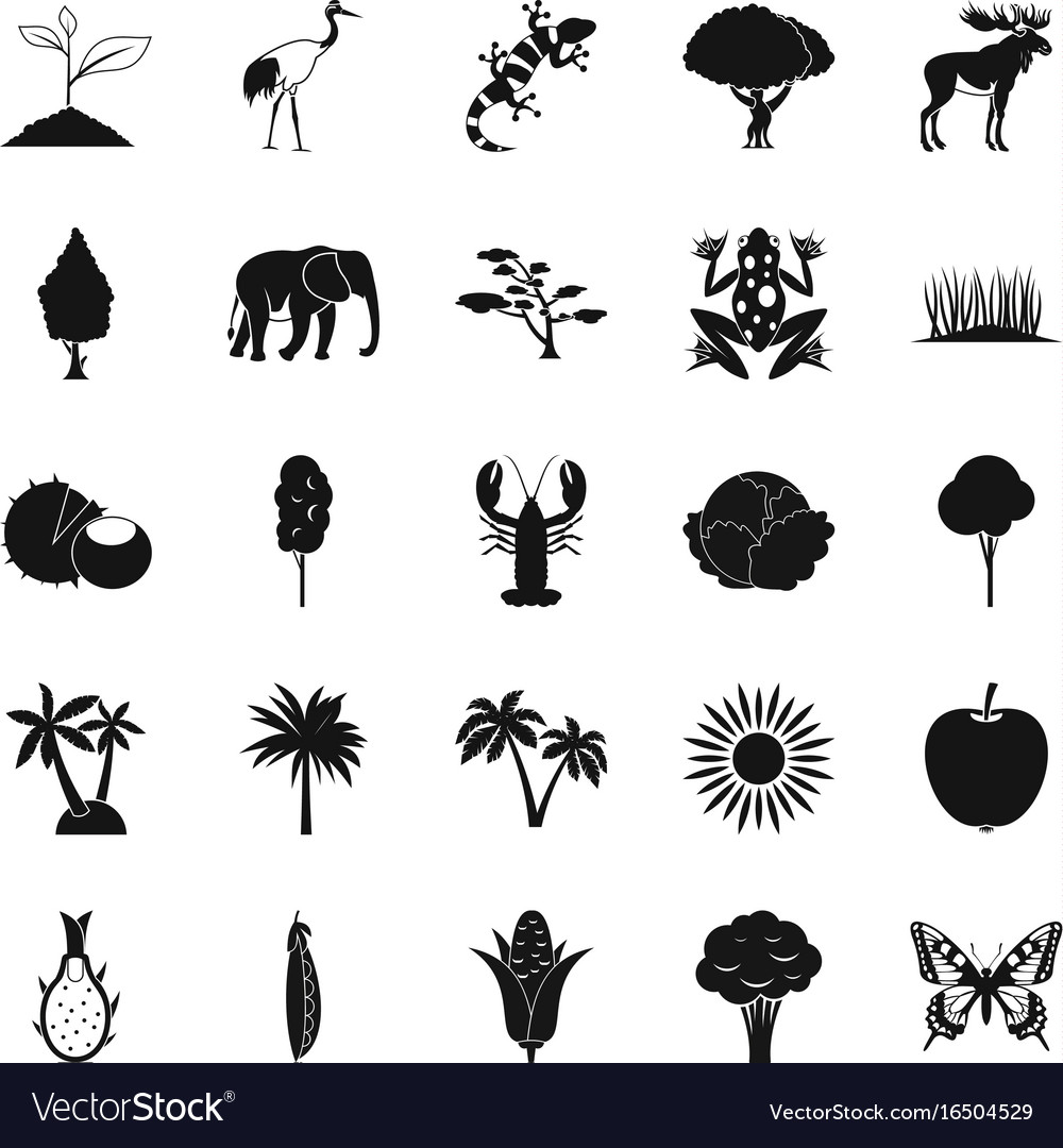 African wildlife icons set simple style