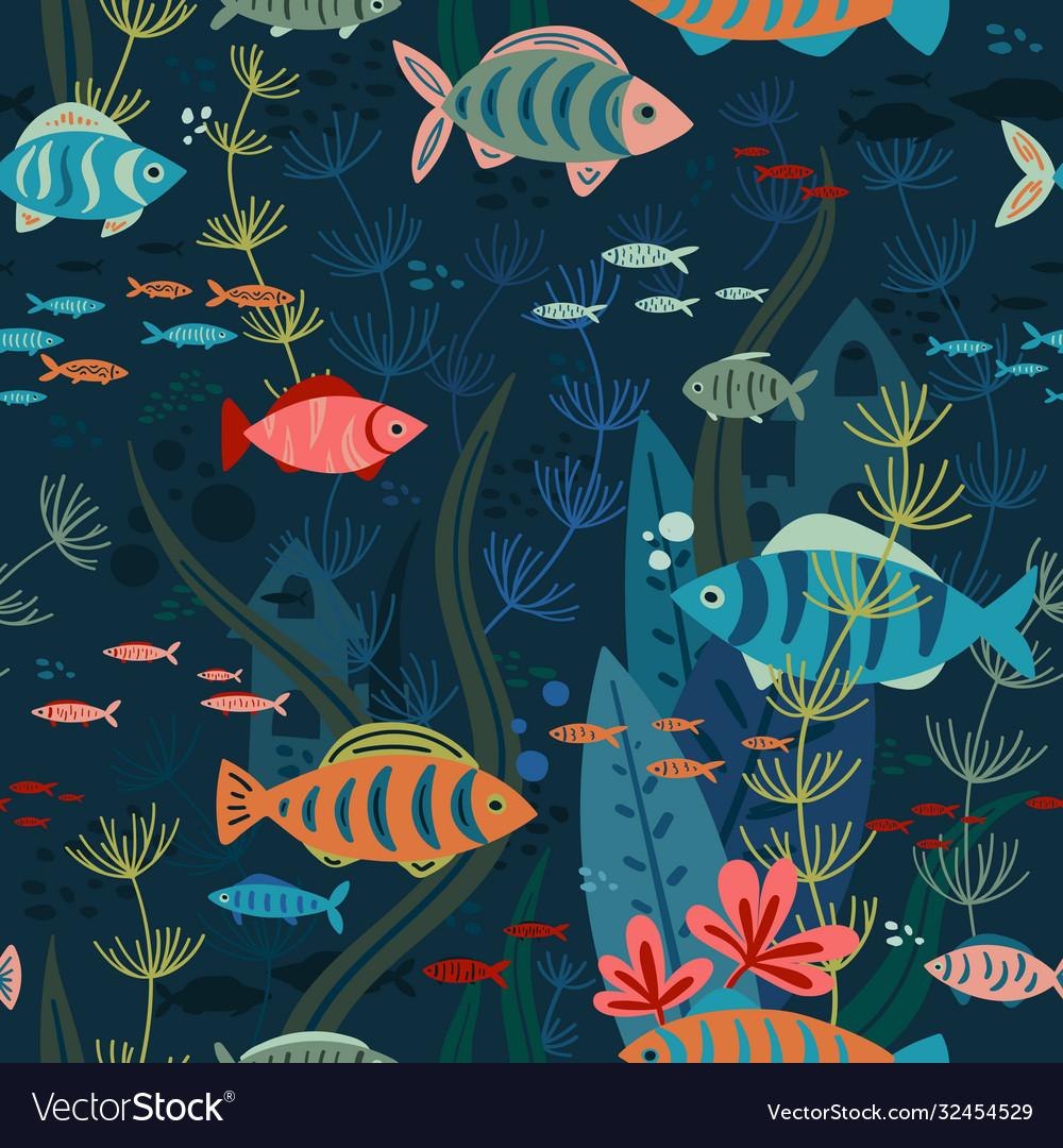 Aquarium fishes life seamless pattern
