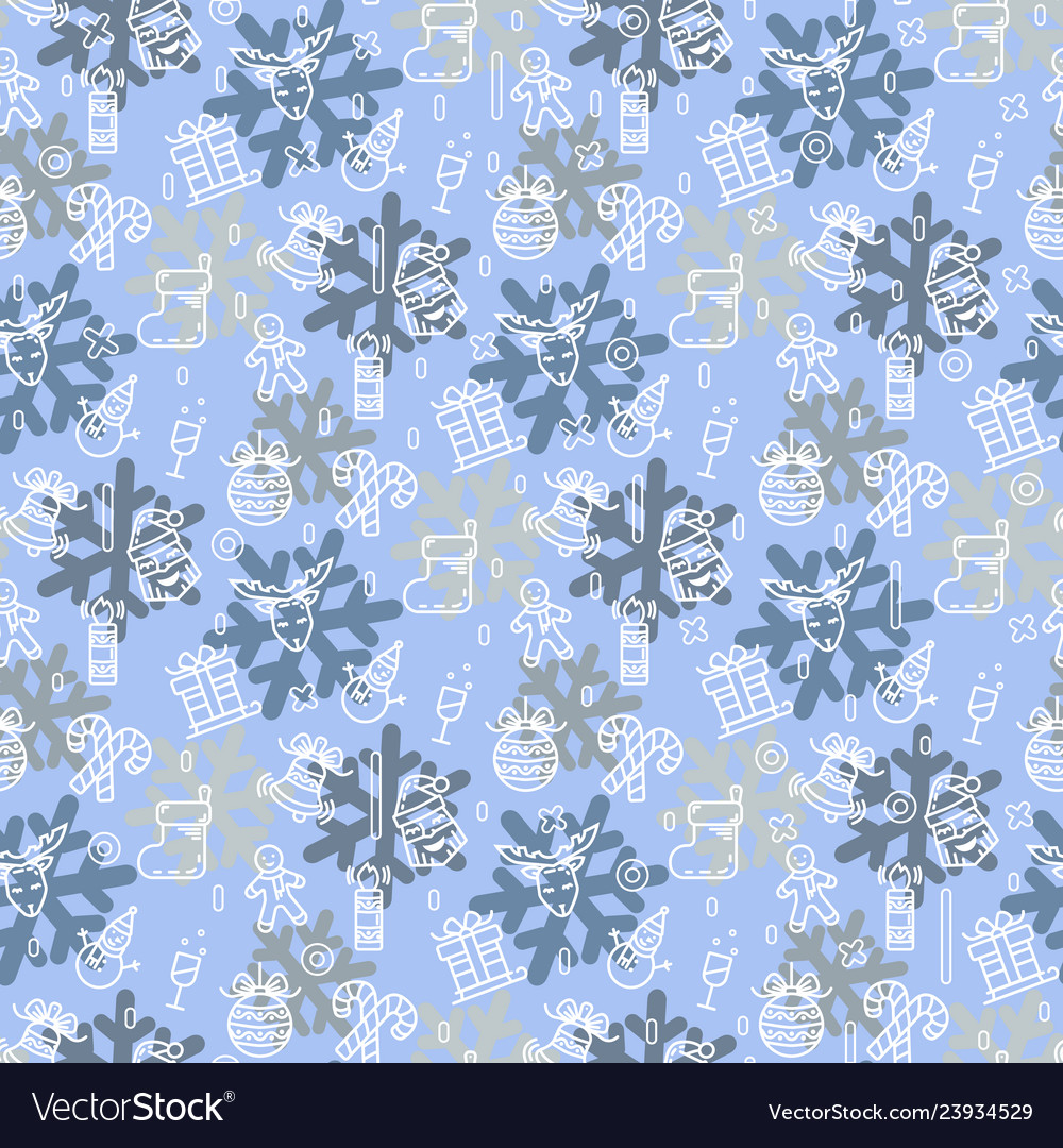 Christmas or new year pattern with snowman