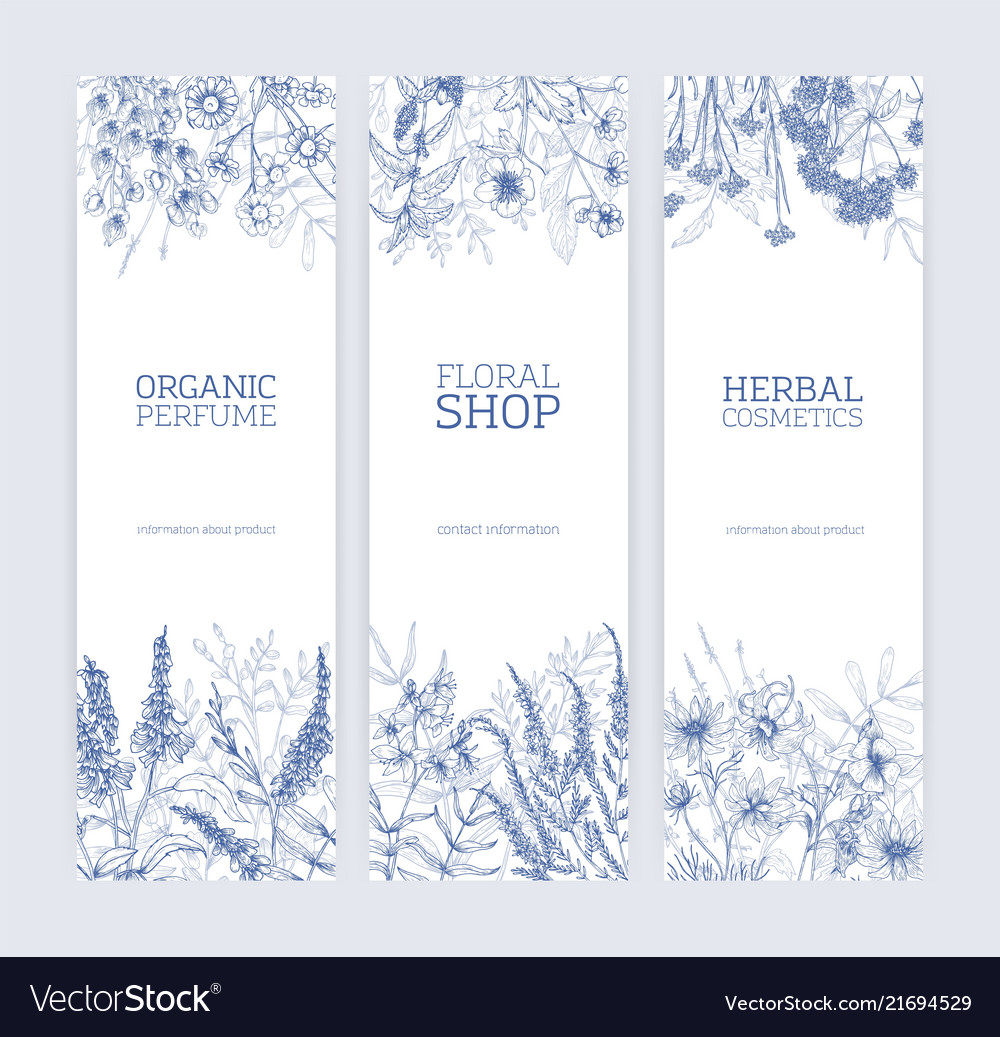 Collection vertical banners decorated with wild
