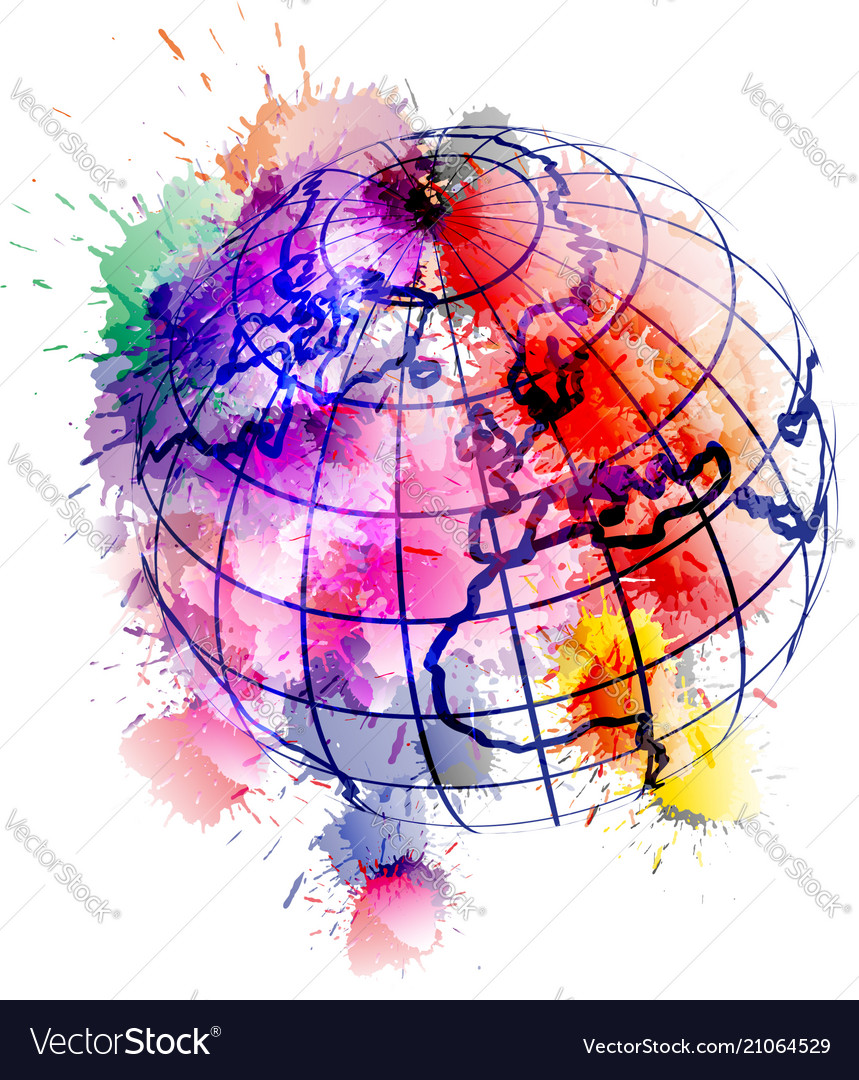 Globe covered with colorful grunge splashes