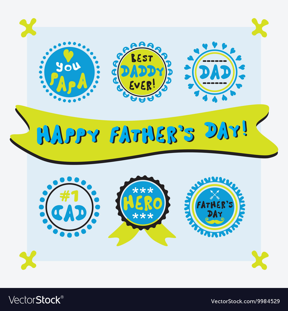 Happy fathers day cute emblems set