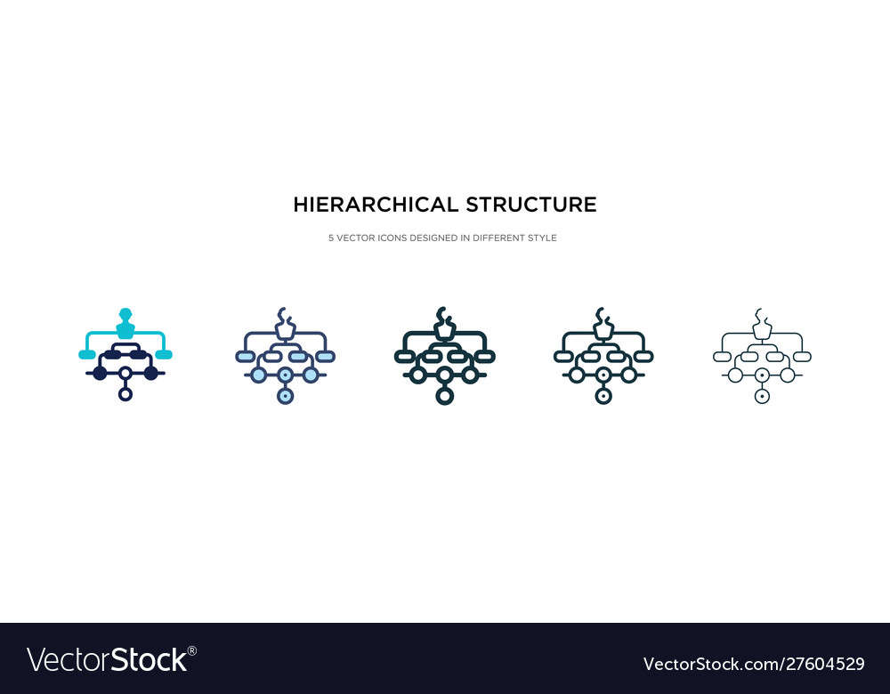 Hierarchical structure icon in different style